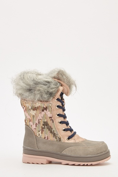 Kids Sequin Contrasted Winter Boots