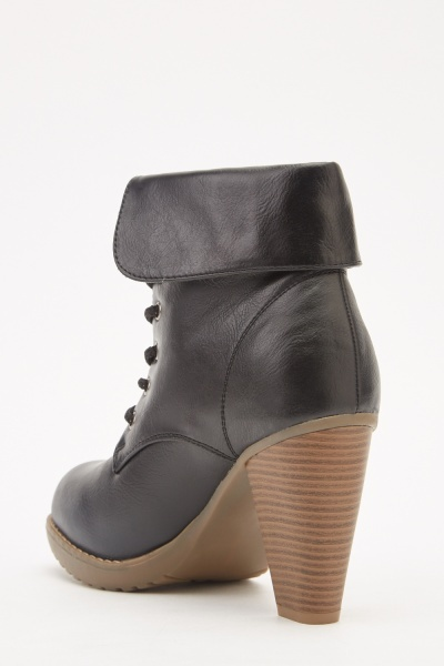 Lace Up Heeled Biker Boots