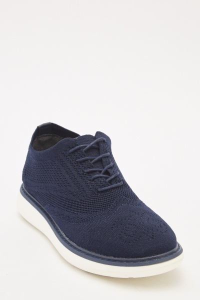 Mens Textured Laser Cut Lace Up Shoes