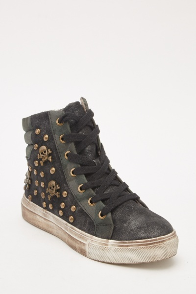 Studded Metallic High Top Trainers