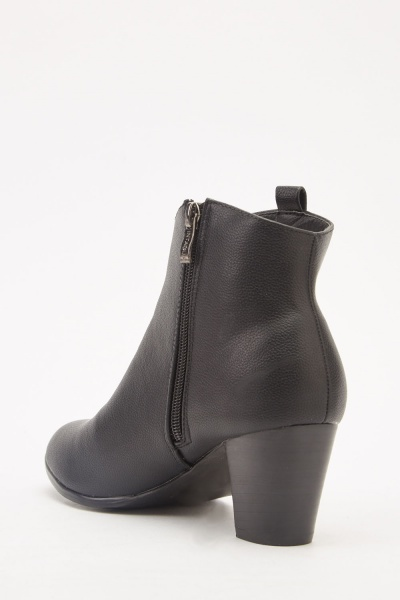 Textured Faux Leather Ankle Boots