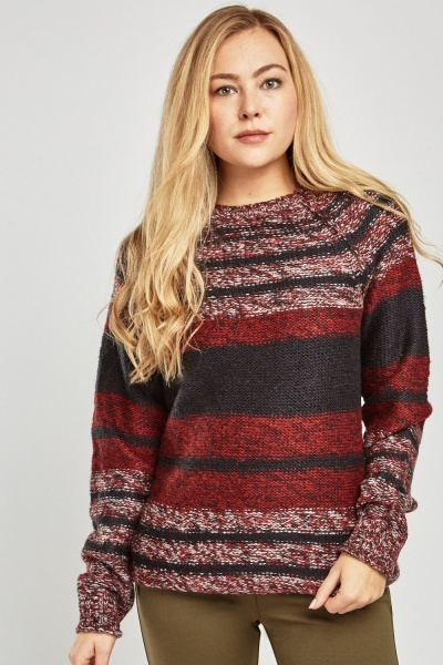Contrasted Striped Knit Jumper