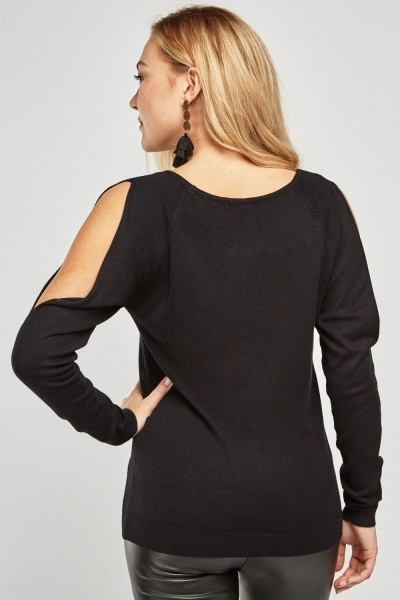 Cut Out Sleeve Knit Top
