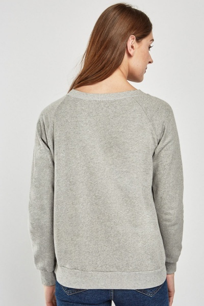 Metallic Penguin Print Sweatshirt