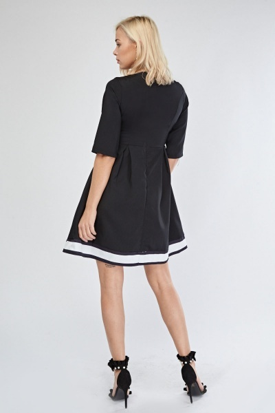 Monochrome Box Pleated Skater Dress