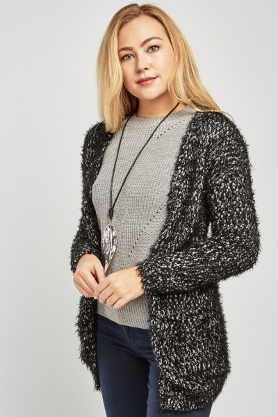 Open Front Bobbled Eyelash Cardigan