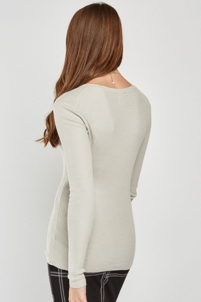 Round Neck Thin Rib Knit Top