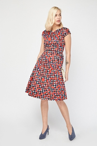 Scattered Gingham Contrast Midi Dress
