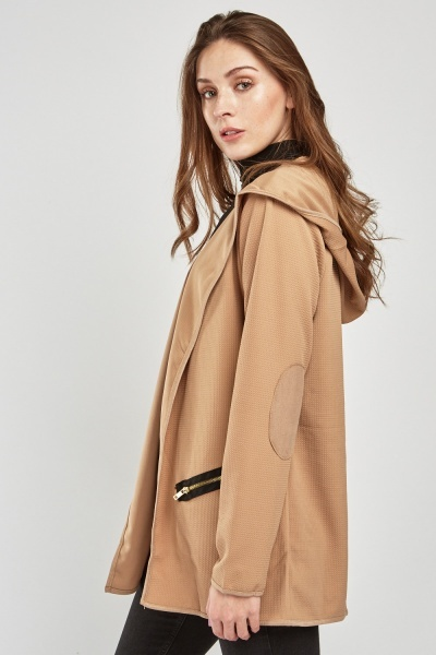 Textured Elbow Patch Hooded Jacket