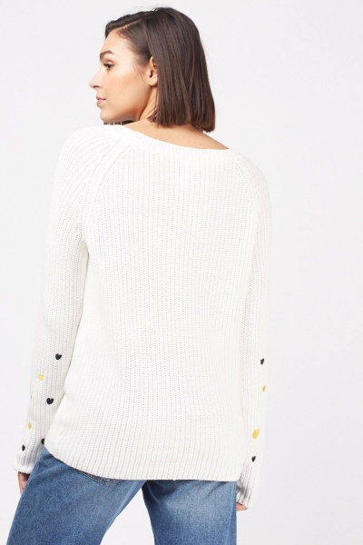 Embroidered Heart Pattern Knit Jumper