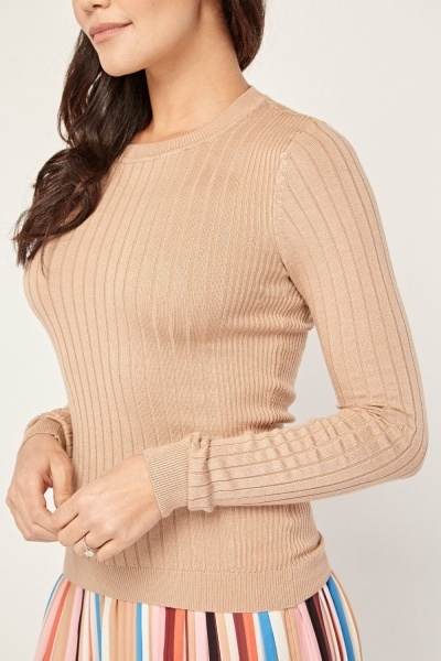 Fitted Ribbed Knit Top