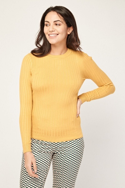 Fitted Round Neck Ribbed Knit Top