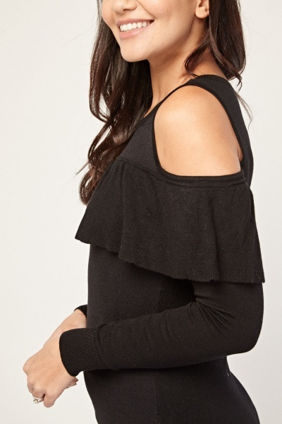 Frill Trim Cold Shoulder Knit Top