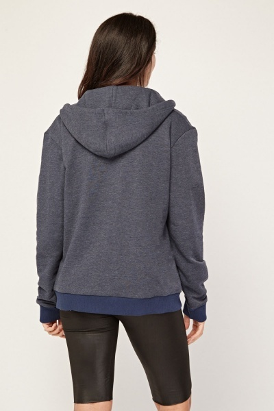 Middle Blue Zip Up Hoodie