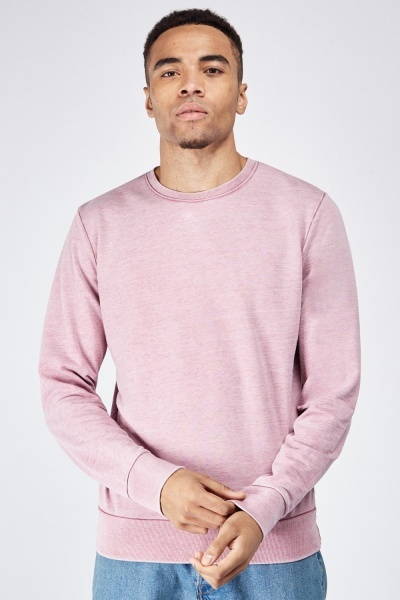 Round Neck Ribbed Hem Sweatshirt