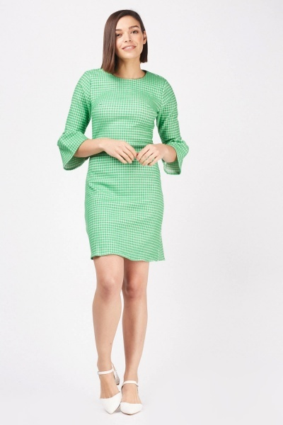 Textured Checkered Shift Dress