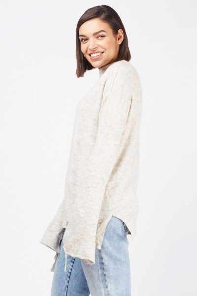 Tie Up Slit Sleeve Knit Jumper