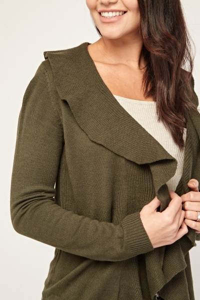 Waterfall Draped Chunky Knit Cardigan
