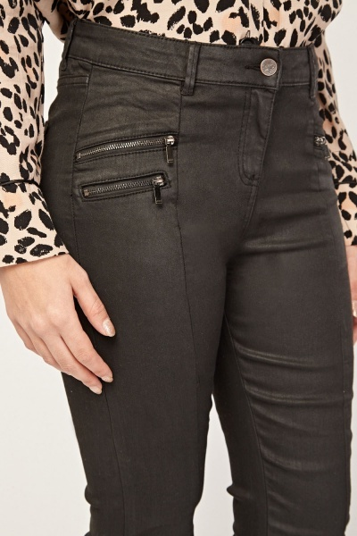 Zipper Front Detail Skinny Jeans