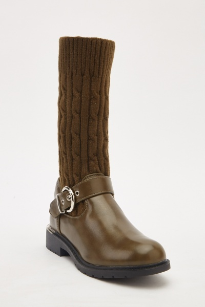 Army Green Sock Overlay Boots