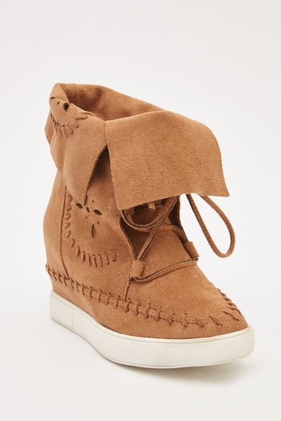 Laser Cut Suedette Wedge Boots