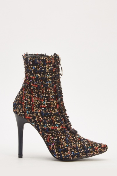 Multi-Coloured Embroidered Heeled Boots