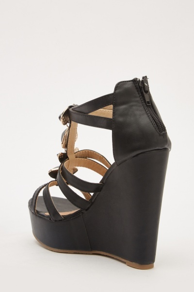 Strappy Detail Front Wedged Heels