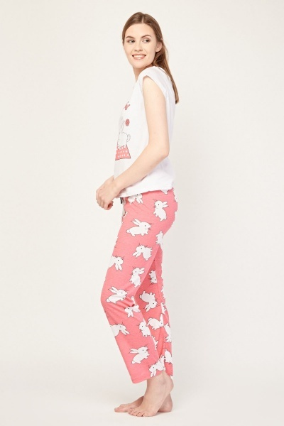 Rabbit Print Pyjama Set