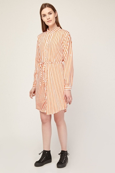 Belted Stripe Shirt Dress