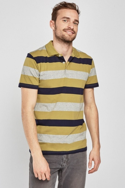 Striped Contrasted Polo Shirt