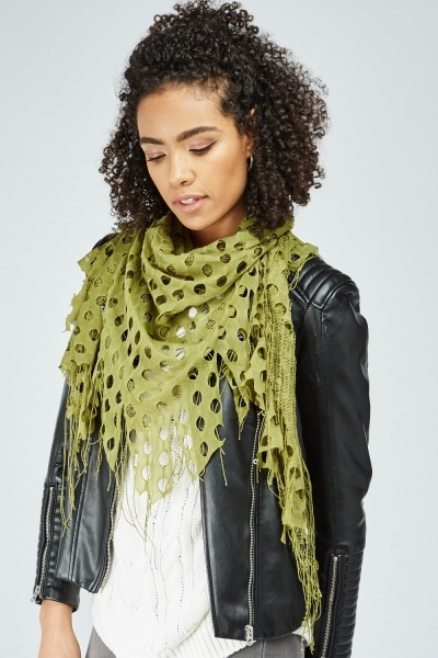 Cut Out Circle Fringed Scarf