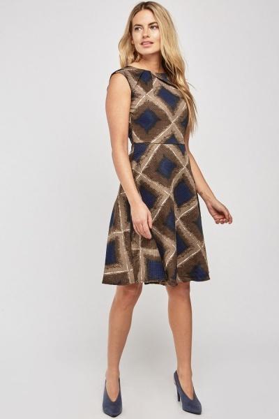 Printed Midi A Line Dress
