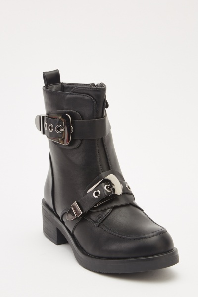 Buckle Strap Faux Leather Boots
