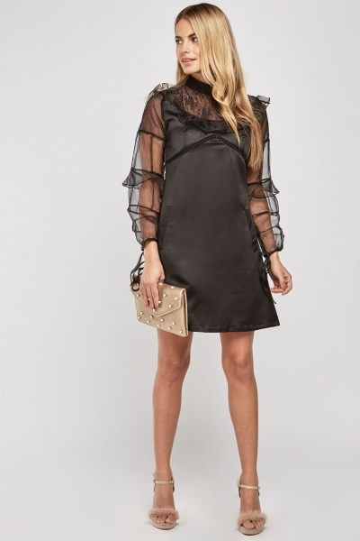 Lace Insert Organza Sleeve Dress