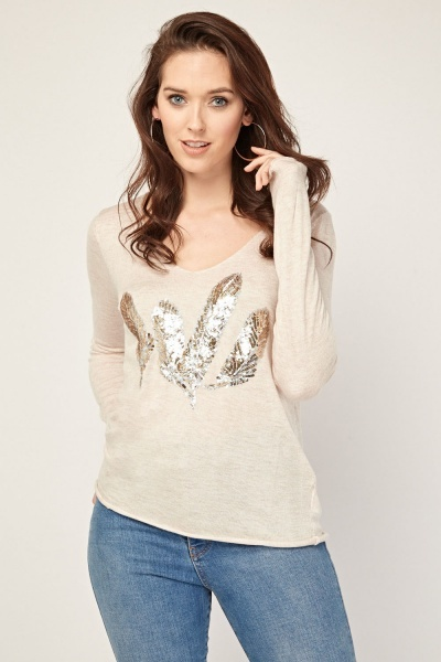 Sequin Feather Trim Knitted Top
