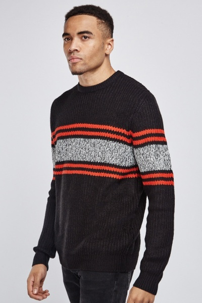 Striped Contrasted Knit Jumper