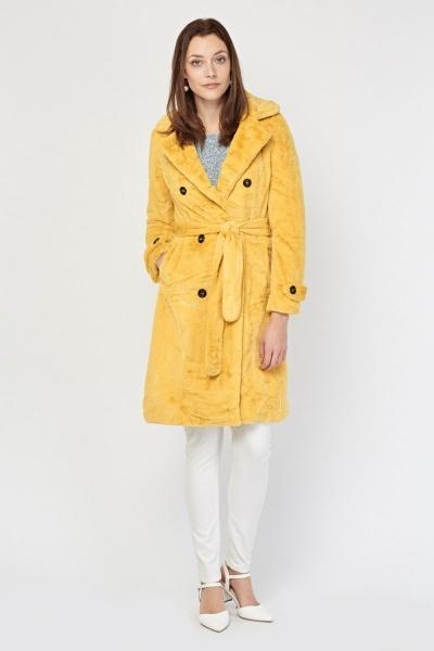 Belted Mustard Faux Fur Coat