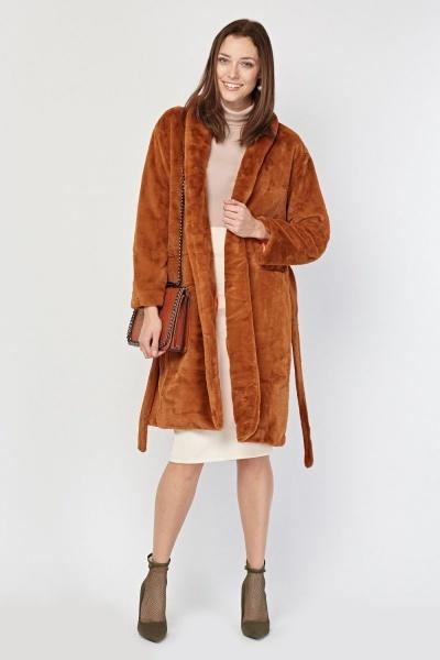 Lapel Front Camel Faux Fur Coat