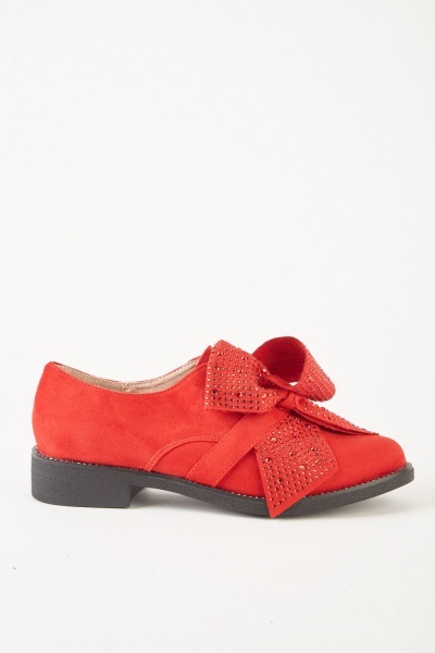 Suedette Embellished Bow Loafers