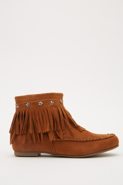 Suedette Tassel Ankle Boots