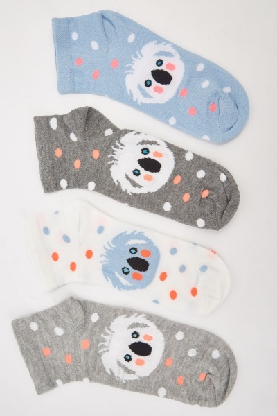 12 Pack Of Mixed Printed Socks