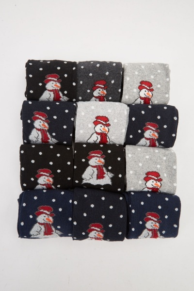 12 Pack Of Snowman Printed Socks