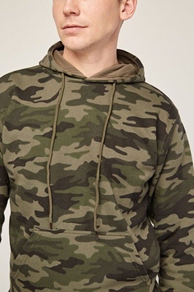 Camouflage Print Casual Hoodie
