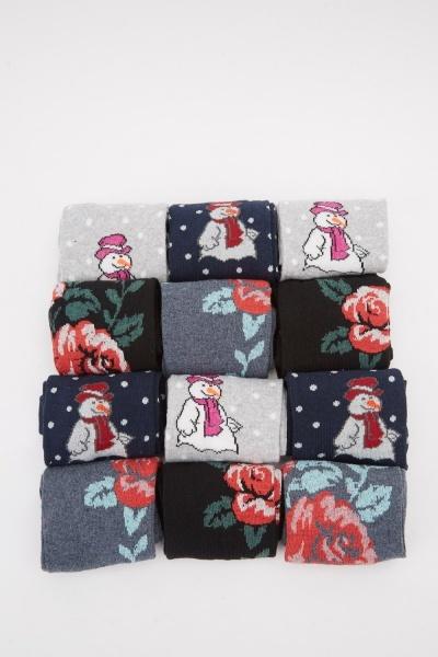 Pack Of 12 Mixed Print Socks