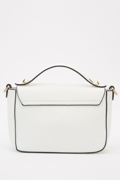Textured Flap Front Handbag