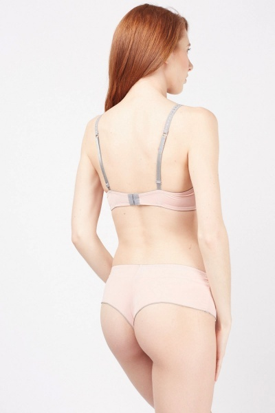 Pleated Ruffle Trim Bra And Brief Set