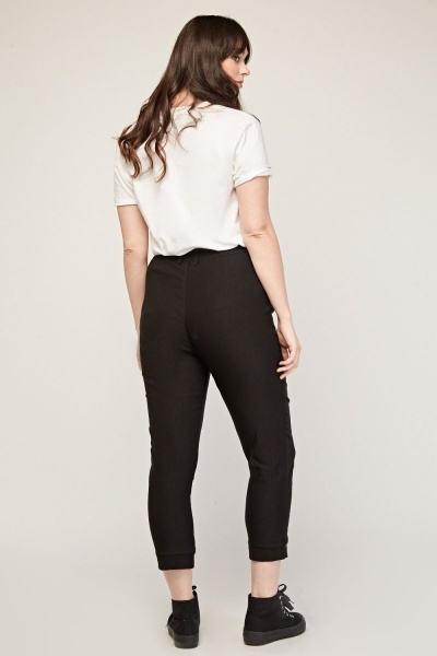 Zipper Front Crop Trousers