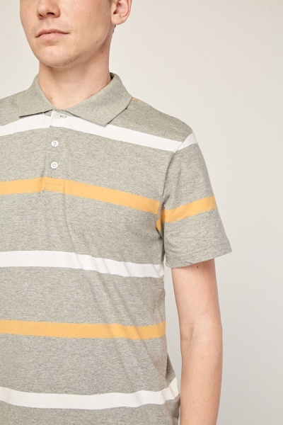 Short Sleeve Striped Polo T-Shirt