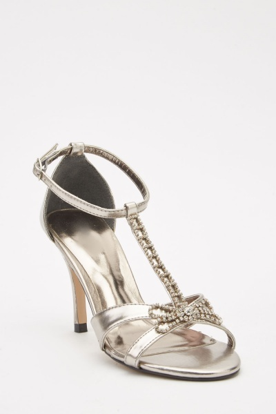 Diamante T-Strap Heel Sandals