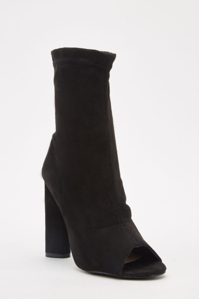 Open Toe Faux Suede Ankle Boots